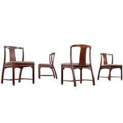 Edward Wormley Style Mahogany Chinoiserie Dining Chairs, circa 1960's