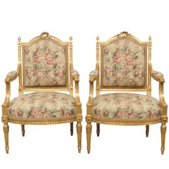Pair of Louis XVI Style Gilt Painted Fauteuils