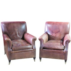 Pair of Brown Leather Club Chairs