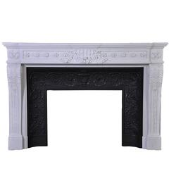 """Juliette Récamier"", Louis XVI Style Fireplace in Carrara White P Marble"