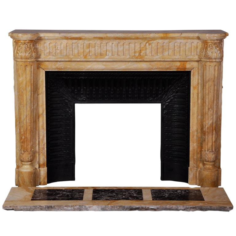 Louis XVI Style Fireplace In Yellow From Siena Marble With