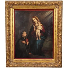 Spanish Religious Oil on Zinc Painting, Virgin and Child with Saint