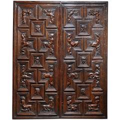 Pair of Carved Renaissance Door Panels, Italian, 16th Century