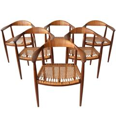 Set of Six Early Caned Armchairs by Hans Wegner