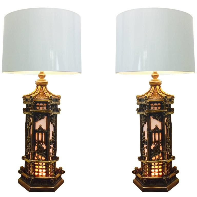 Pair of Chinoiserie Gold Lamps in the Style of James Mont