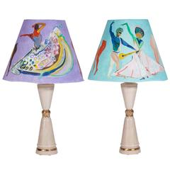 1970s Iridescent Table Lamps with Custom Voutsa Ballets Russes Shades, Pair