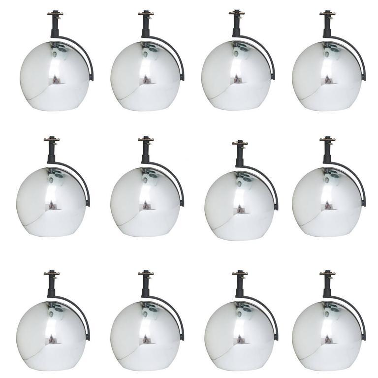 set of 12 vintage lightolier orb eyeball chrome track lighting