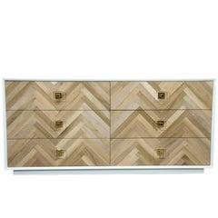 Mid-Century Style White Amalfi Dresser w/ Chevron Walnut Front & Lucite Pulls