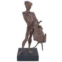 Italian Modernist Sculpture of Playful Nude Boy with Lamb