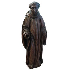 French Carved Walnut Ecclesiastical Figure