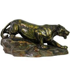 Majolica Lioness Sculpture by Bernhard Bloch, Germany circa 1900