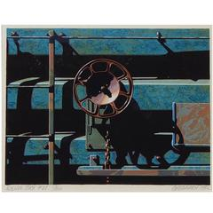 Robert Cottingham Color Woodblock, 1992, Rolling Stock #27