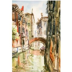 Watercolor Painting-Venice Canal Scene