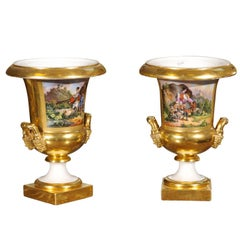 Pair of 19th Century French Paris Porcelain Urns with Painted Scenes & Handles