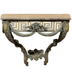 Polychrome Painted Console with Pierced Greek Key Frieze and Grey Marble Top