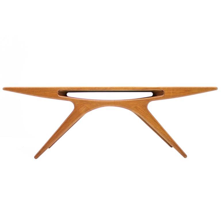 danish teak wood coffee table smile by johannes andersen cfc silkeborg 1957 - Teak Wood Coffee Tables