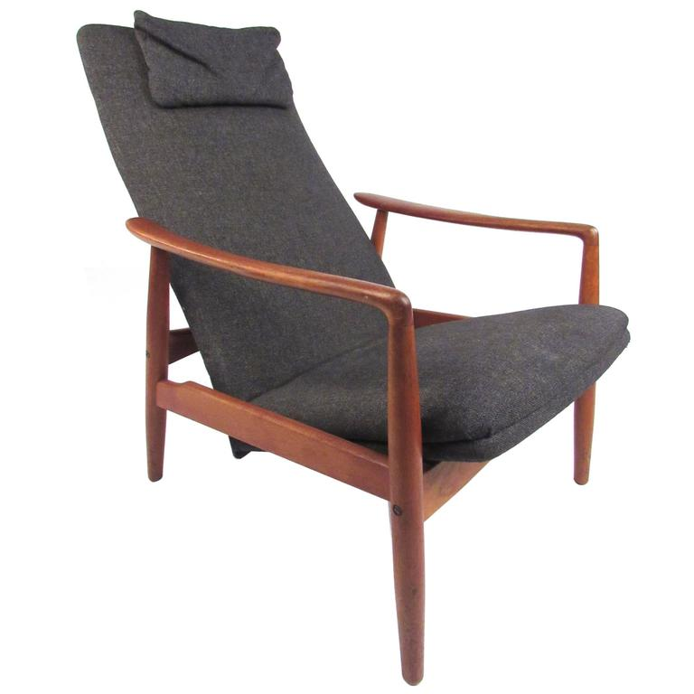 Scandinavian Modern Teak High Back Lounge Chair For