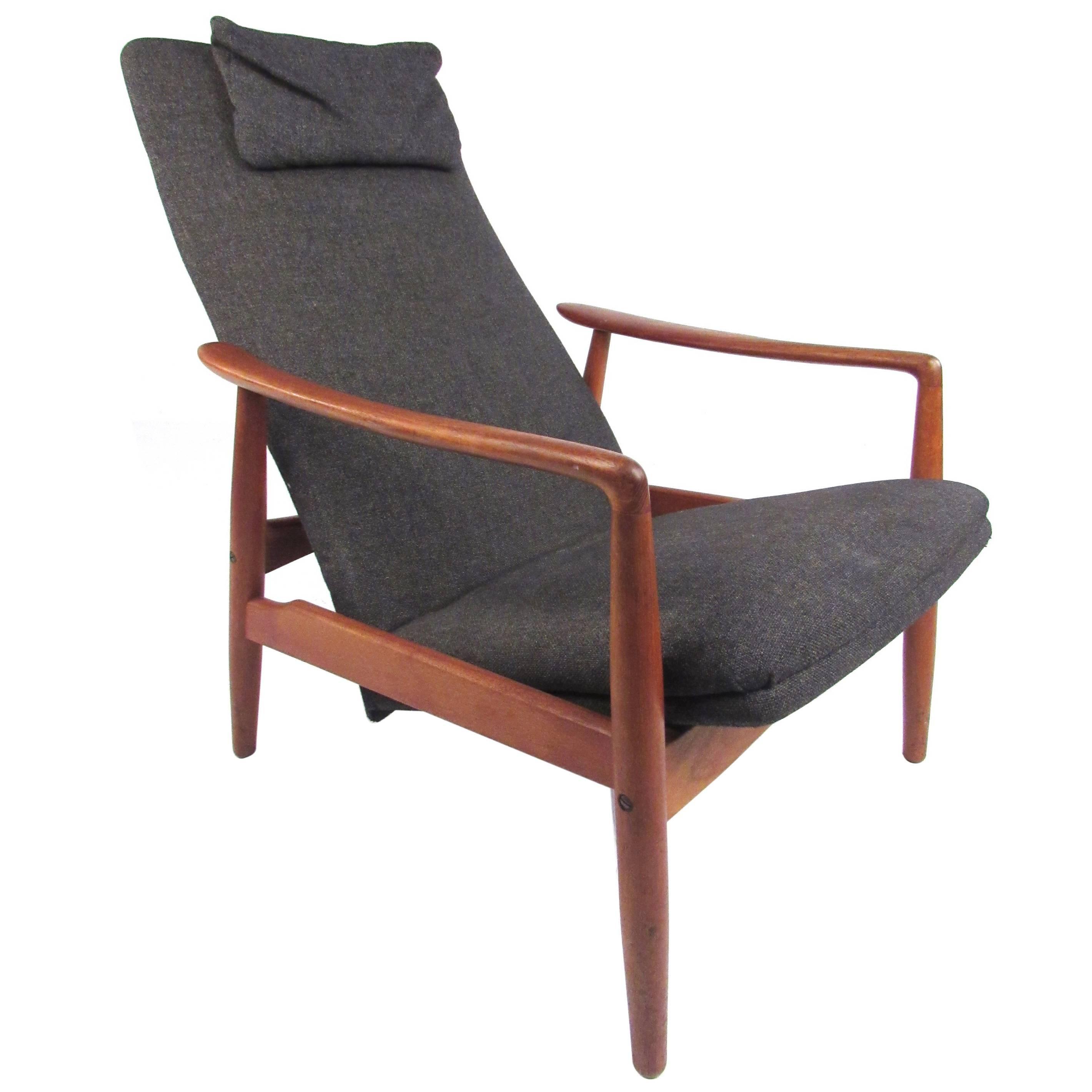 Scandinavian Modern Teak High Back Lounge Chair