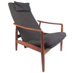 Scandinavian Modern Teak High Back Lounge Chair