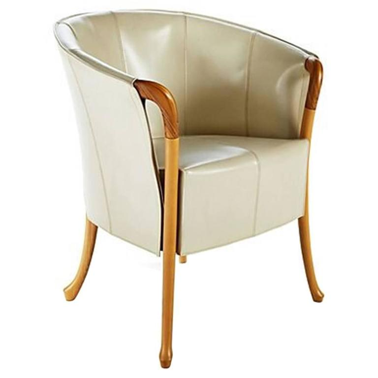 Giorgetti Progetti Armchair In Saddle Leater For Sale