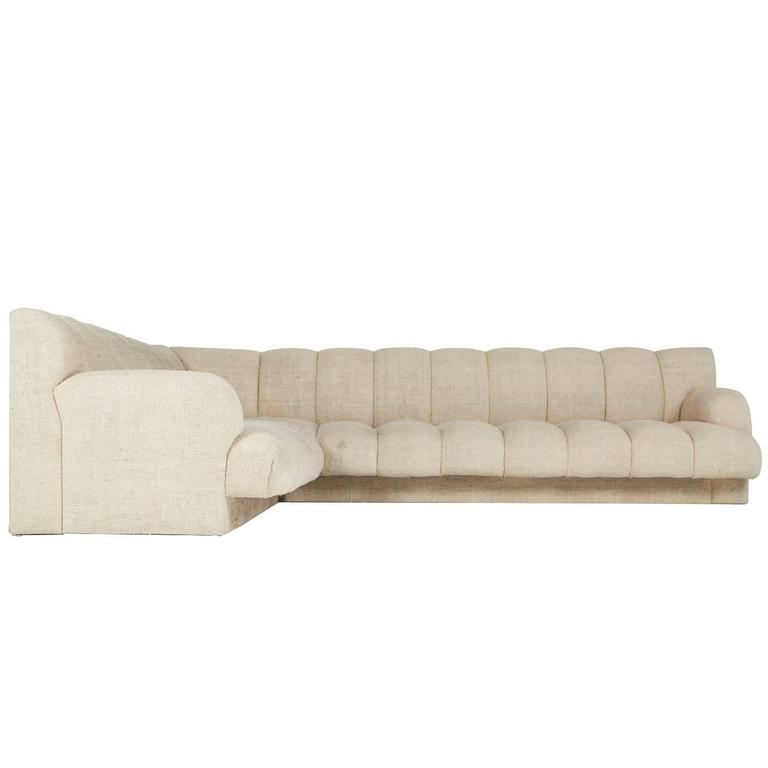Steve Chase Channel Tufted L-Shape Sectional Sofa, 1986 1