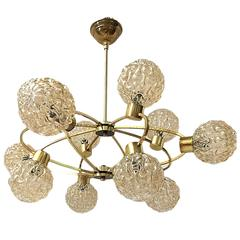 Light Fixture with Light Amber Glass Globes