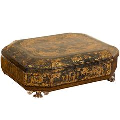 Chinese Export Aubergine Lacquer and Gilt Sewing Box