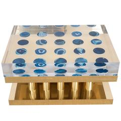 Superego Table with Blue Agates, Brass Base and Lucite Top