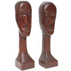 Mid-Century Modern Sculptural Primitive Folk Art Carved Wood Figures Zinzow 1969