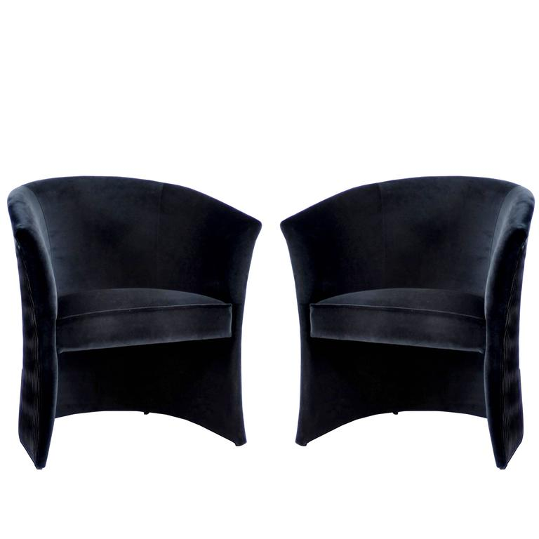 Pair of European Modern Enigma Black Velvet Tub Armchairs by Koket 1