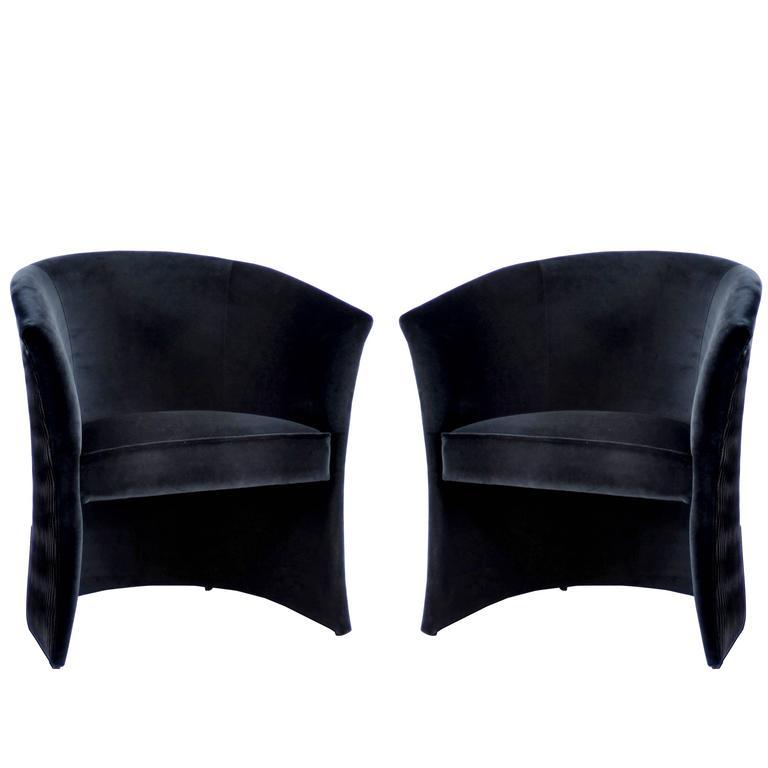 Pair Of European Modern Enigma Black Velvet Tub Armchairs