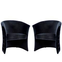 Pair of European Modern Enigma Black Velvet Tub Armchairs by Koket