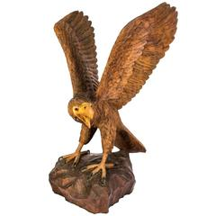 Vintage Carved Wood Eagle Sculpture