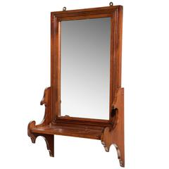 Late 19th Century Walnut Hanging Mirror and Tidy
