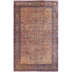 Antique Lavar Kerman Large Persian Rug