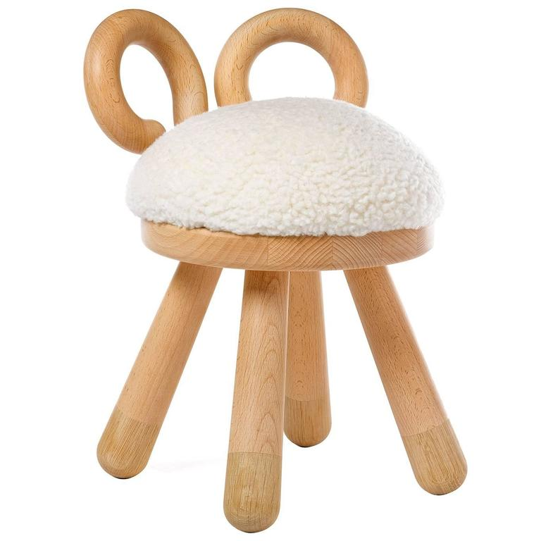 Sheep Chair by Takeshi Sawada for Elements Optimal in Beech, Oak, and Faux Fur 1