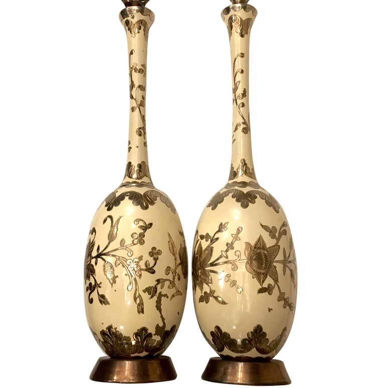 Pair of Large Painted Brass Table Lamps