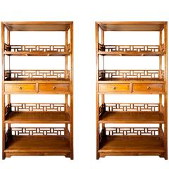 Almost Pair of 19th Century Chinese Wood Etageres