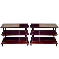 Large Pair of Mahogany Baker Asian Style Side Tables