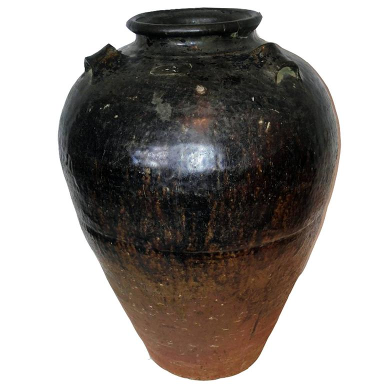 Large Clay Pot Or Vase In A Dark Glaze At 1stdibs