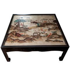 Square Chinoiserie Cocktail Table with Painted Asian Scenes Depicted on Top