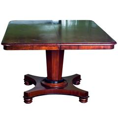 Antique Regency Pedestal Dining Table with One Leaf
