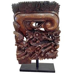 Architectural Detail in Hand-Carved Wood, on Stand, Contemporary