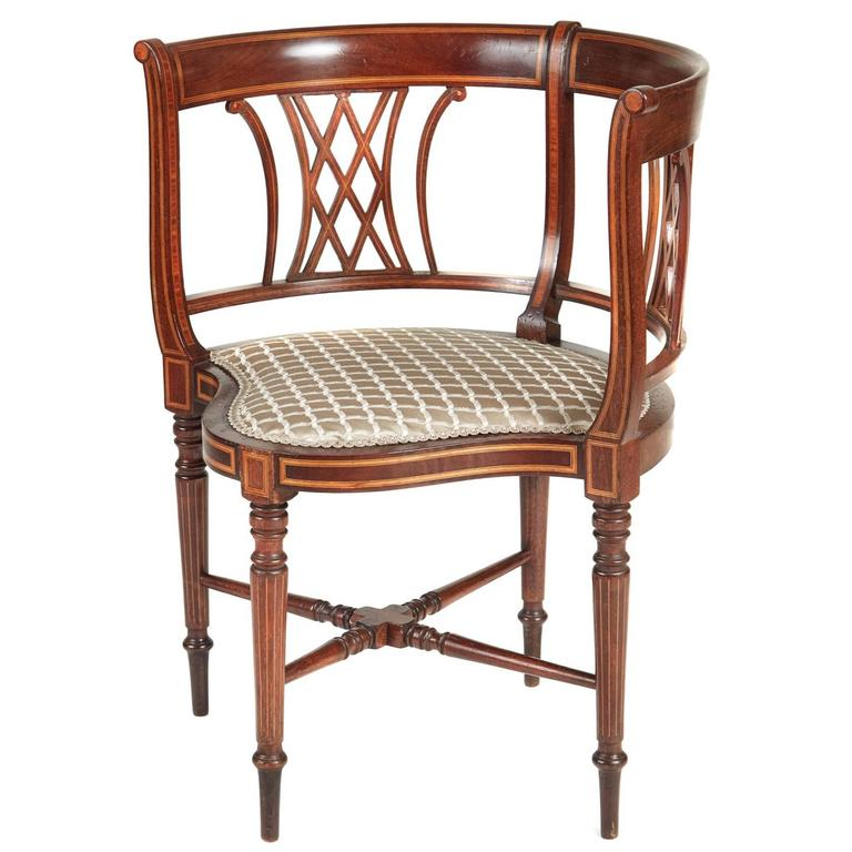 Early 20th Century Inlaid Edwardian Mahogany Corner Chair For Sale At 1stdibs