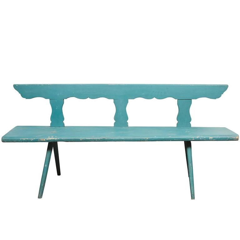 Painted Bavarian Pine Bench