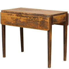 Swedish Drop-Leaf Table with Single Drawer and Tapered Legs, 19th Century
