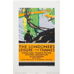 Original 1926 Southern Railway Poster - The Londoner's Leisure Thames Resorts