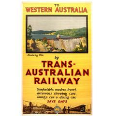 Original Vintage Travel Poster, To Western Australia by Trans-Australian Railway