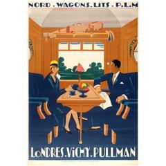 Original PLM French Railway Travel Poster for Wagons Lits 'London Vichy Pullman'