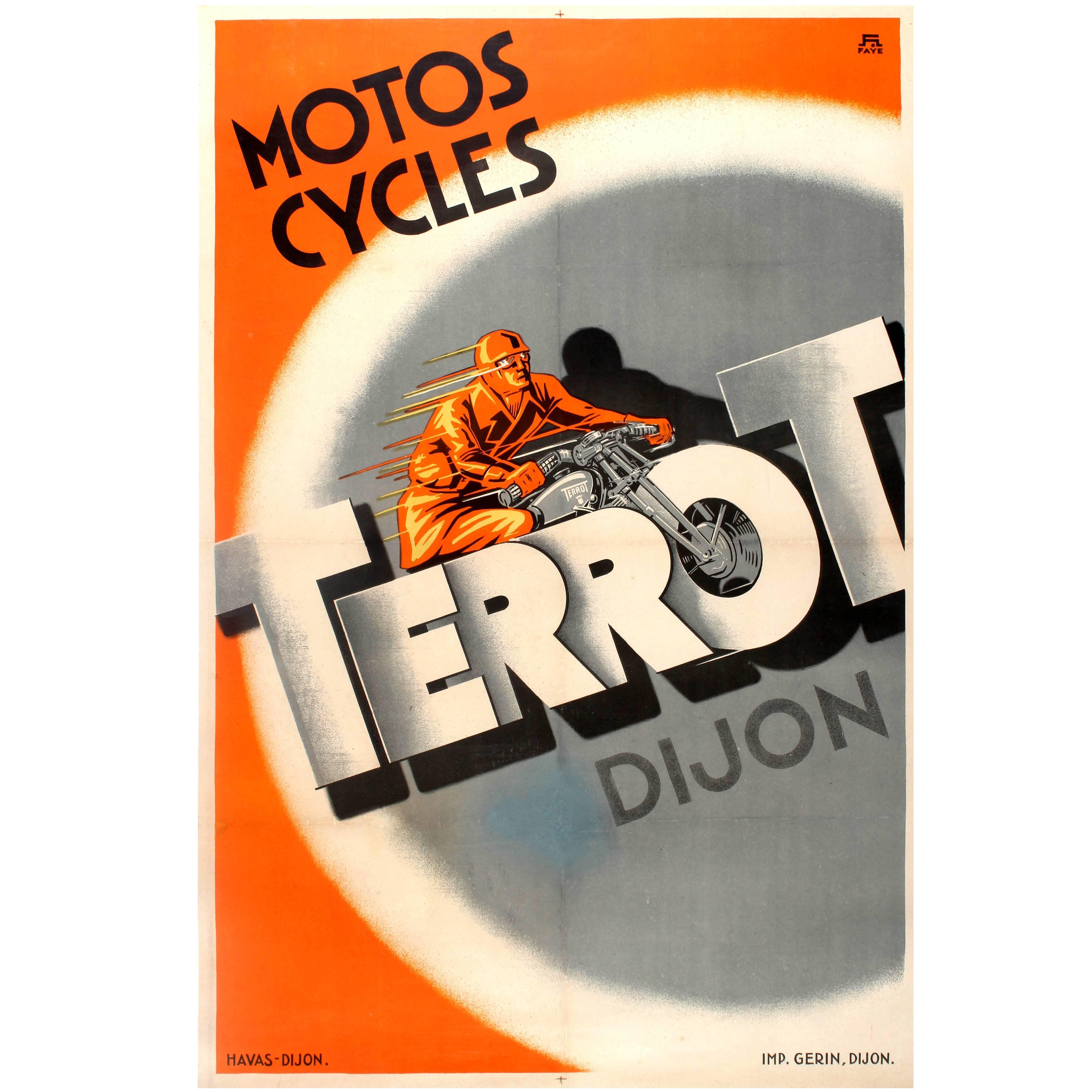 Large Original Vintage Advertising Poster: Motos Cycles Terrot Dijon Motorcycles